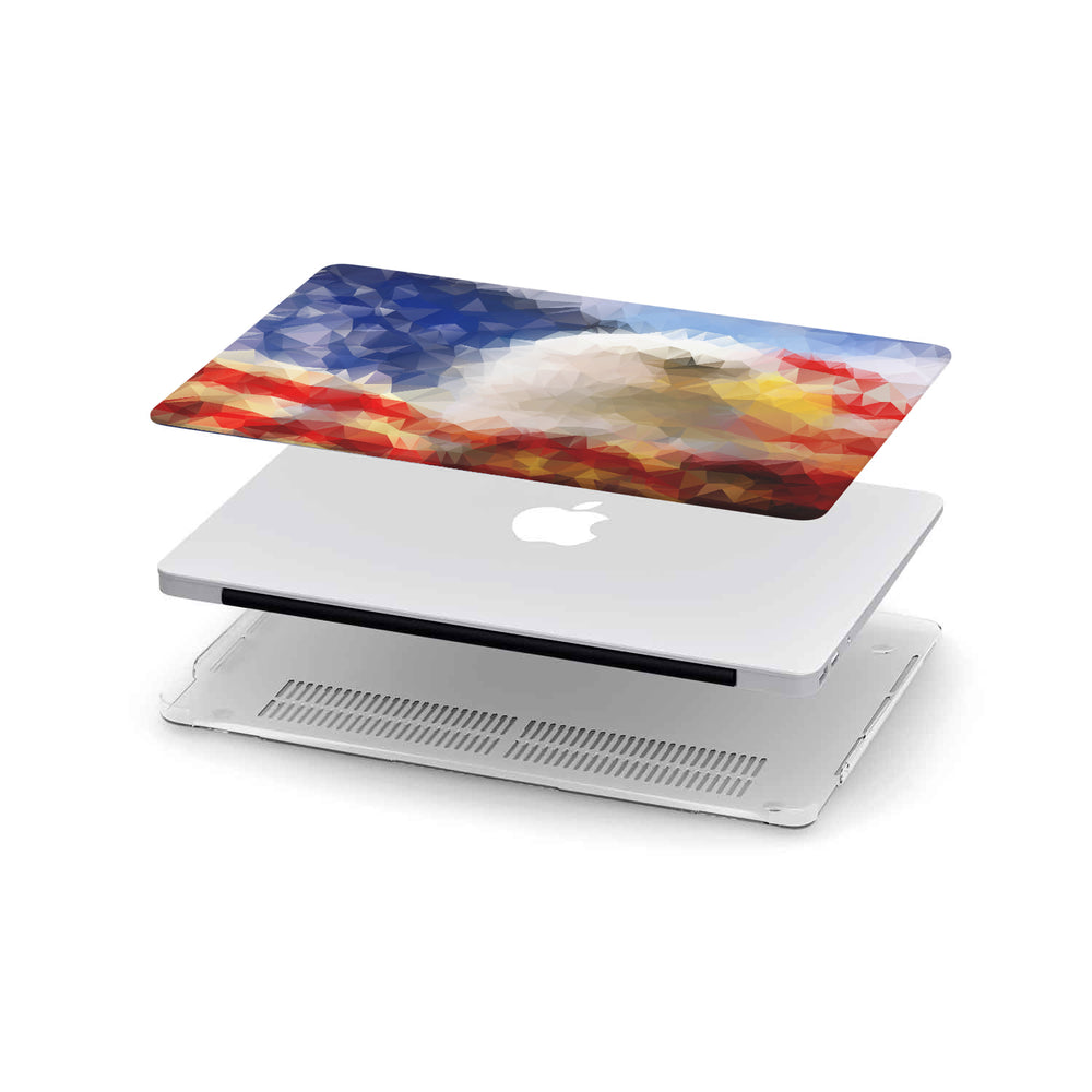 Macbook Hard Shell Case - Polygonal Eagle American Flag