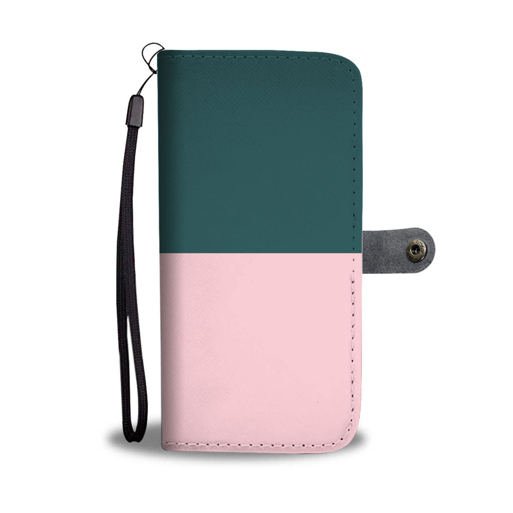 Personalized Emerald Green & Blush Pink Phone Wallet Case