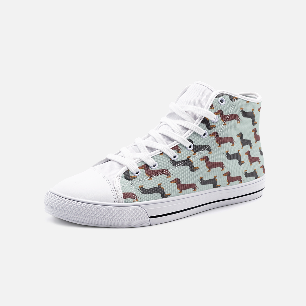 Dachshund Mint Green High Top Unisex Canvas Shoes