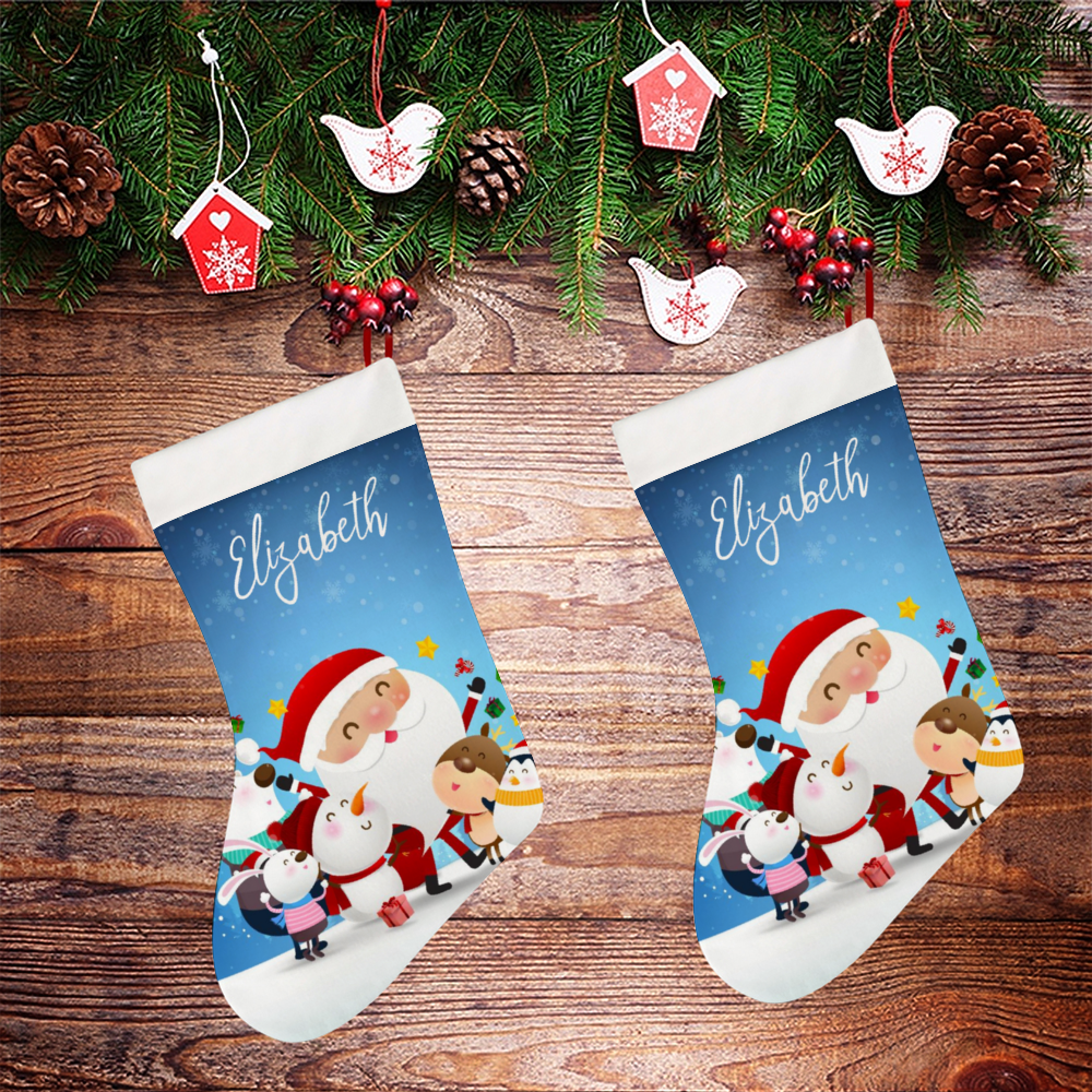 Personalized Christmas Socking - Santa & His Little Helpers