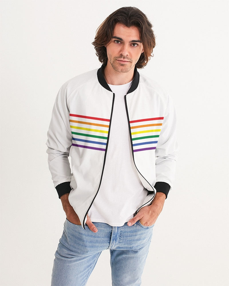 Rainbow Stripes Bomber Jacket