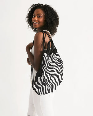 Zebra Print Canvas Drawstring Bag