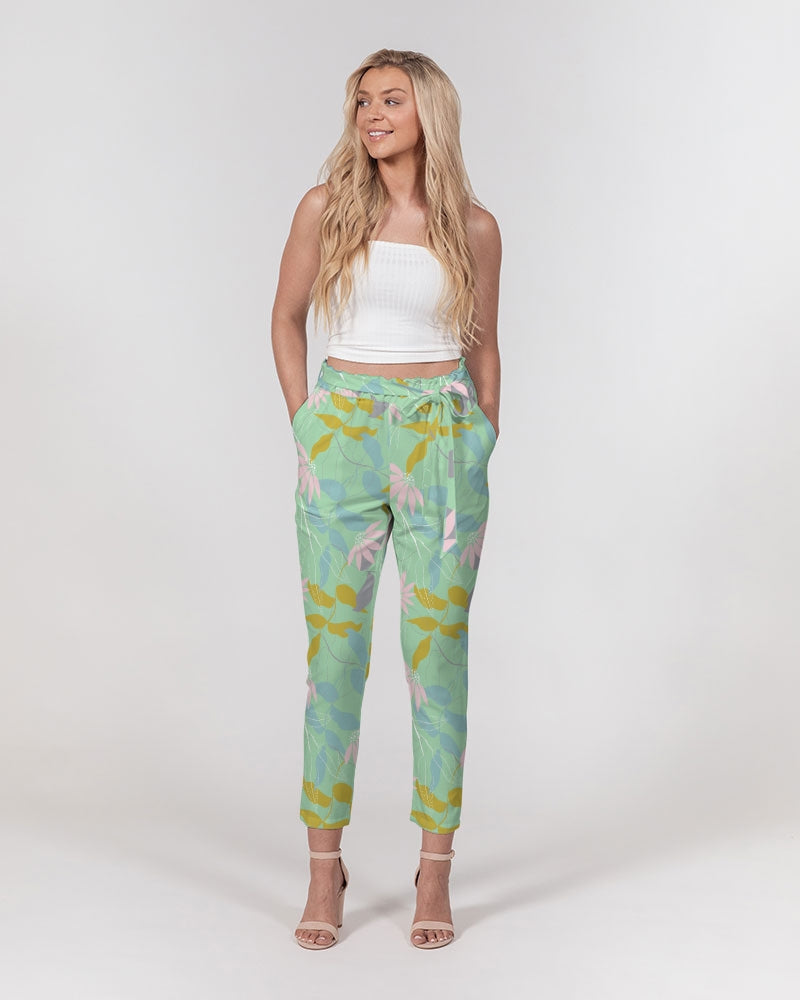 Green Tea Floral Women's Belted Tapered Pants