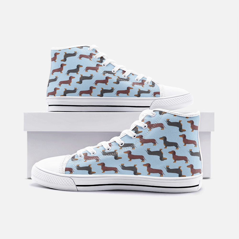 Dachshund Blue High Top Unisex Canvas Shoes