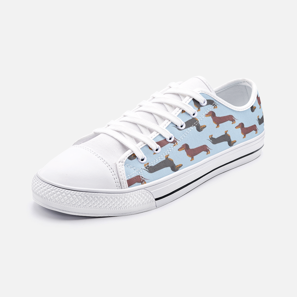 Dachshund Blue Low Top Unisex Canvas Sneakers