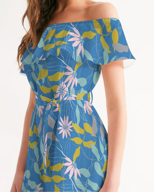 Load image into Gallery viewer, Parisian Blue Floral Women's Off-Shoulder Dress