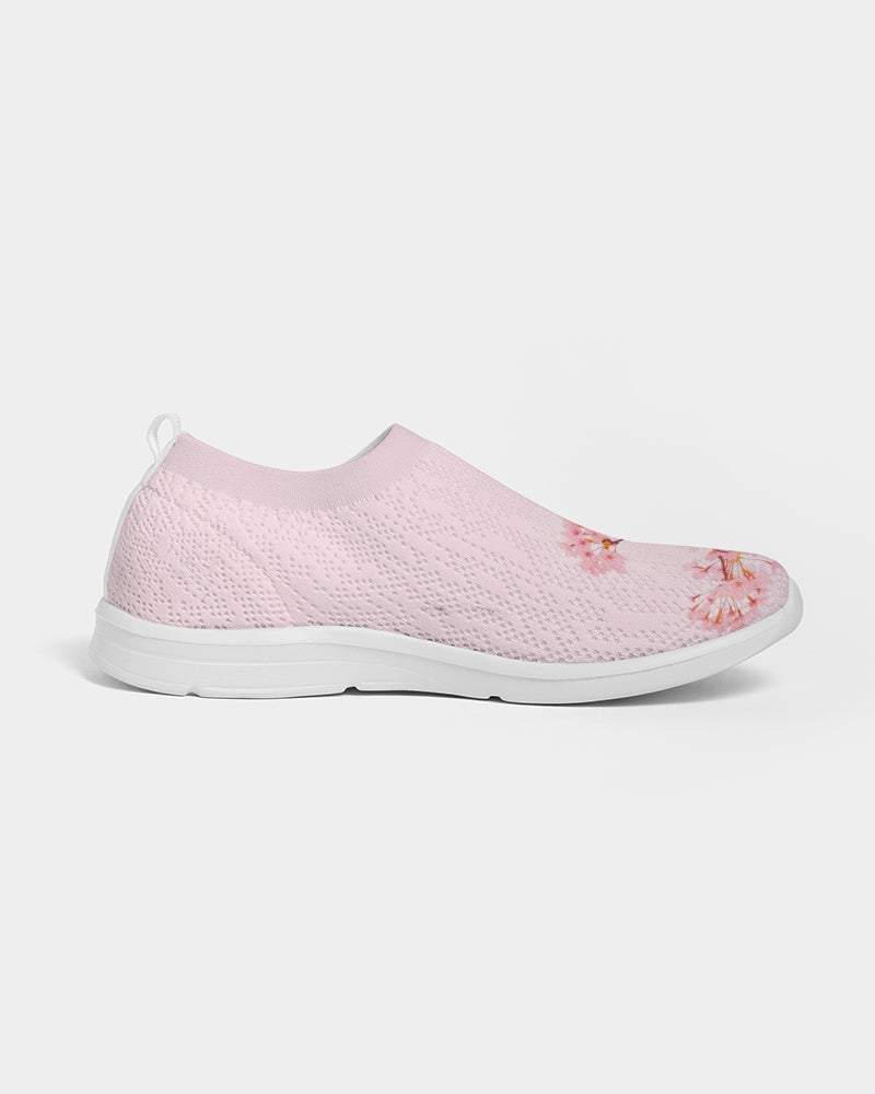 Pink Cherry Blossom Women's Slip-On Flyknit Shoe