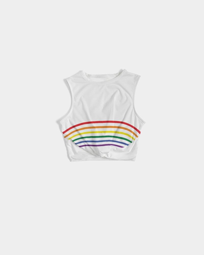 Load image into Gallery viewer, Rainbow Striped Twist-Front Tank