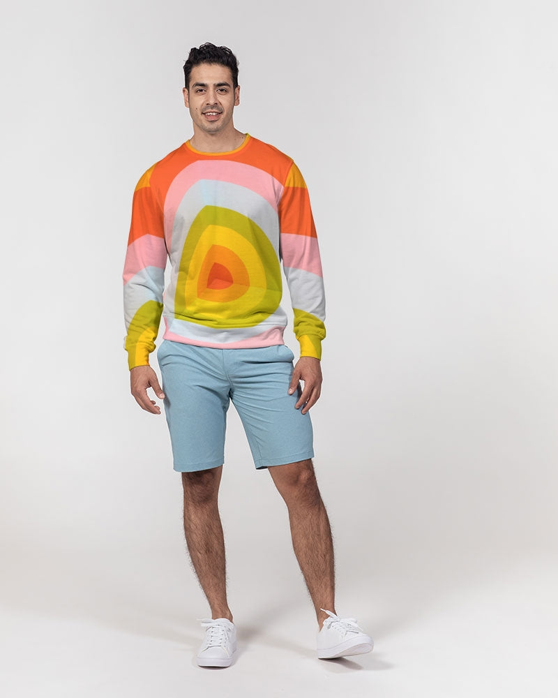 Orange Vortex Men's Classic French Terry Crewneck Pullover