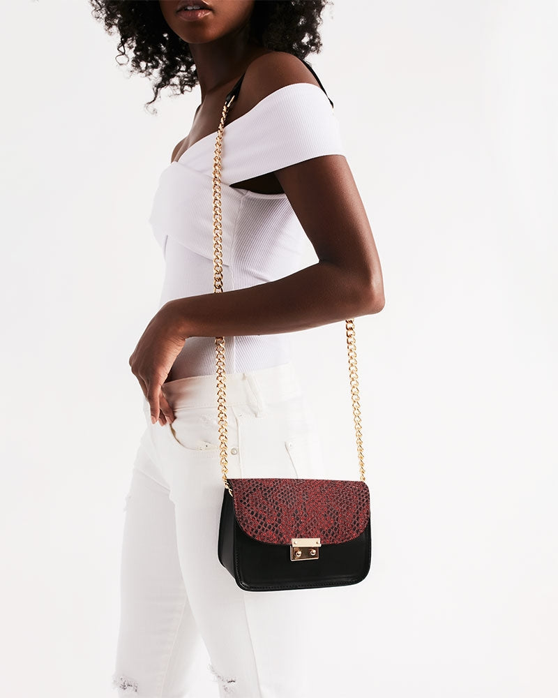 Red Snake Skin Small Shoulder Bag