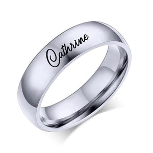 Personalized Name Ring Classic Band in Silver, Gold & Blue