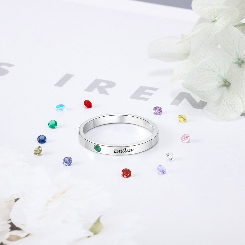 Personalized Simple Birthstone Ring