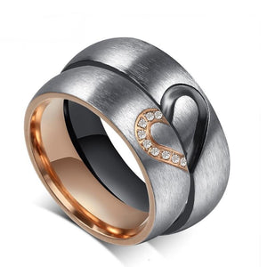 Personalized Couples Heart Rings with Engraving in Silver with Rose Gold and Black Plating