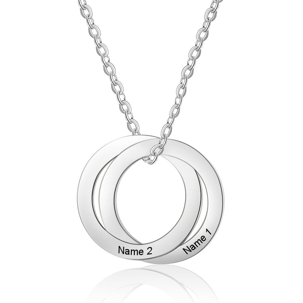 Personalized 2 Name Circle Pendant Necklace