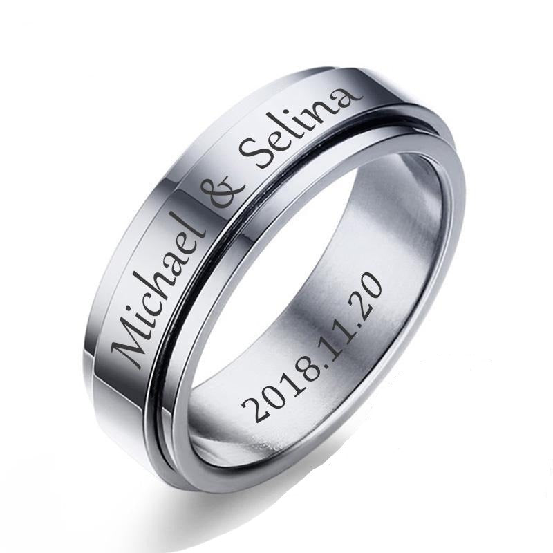 Personalized Unisex Rotatable Spinner Ring in Silver, Gold, Black