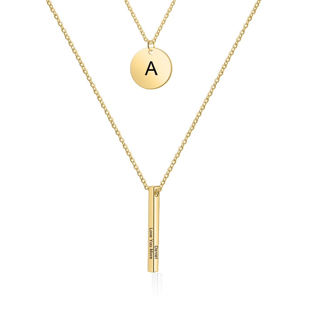 Personalized Multi Layer Bar Necklace in Silver, Black, Gold & Rose Gold