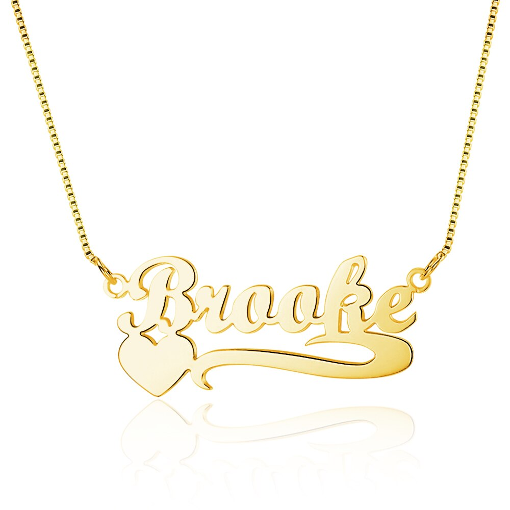Personalized Name Necklace with Heart in Silver, Gold & Rose Gold