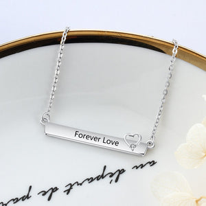 Personalized Name Bar Necklace with Heart