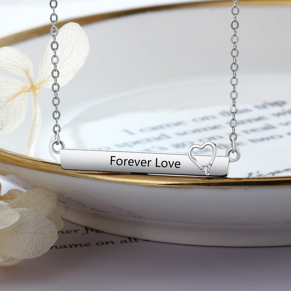 Load image into Gallery viewer, Personalized Name Bar Necklace with Heart