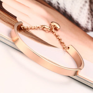 Personalized Cuff Bracelet with Heart Charm in Rose Gold