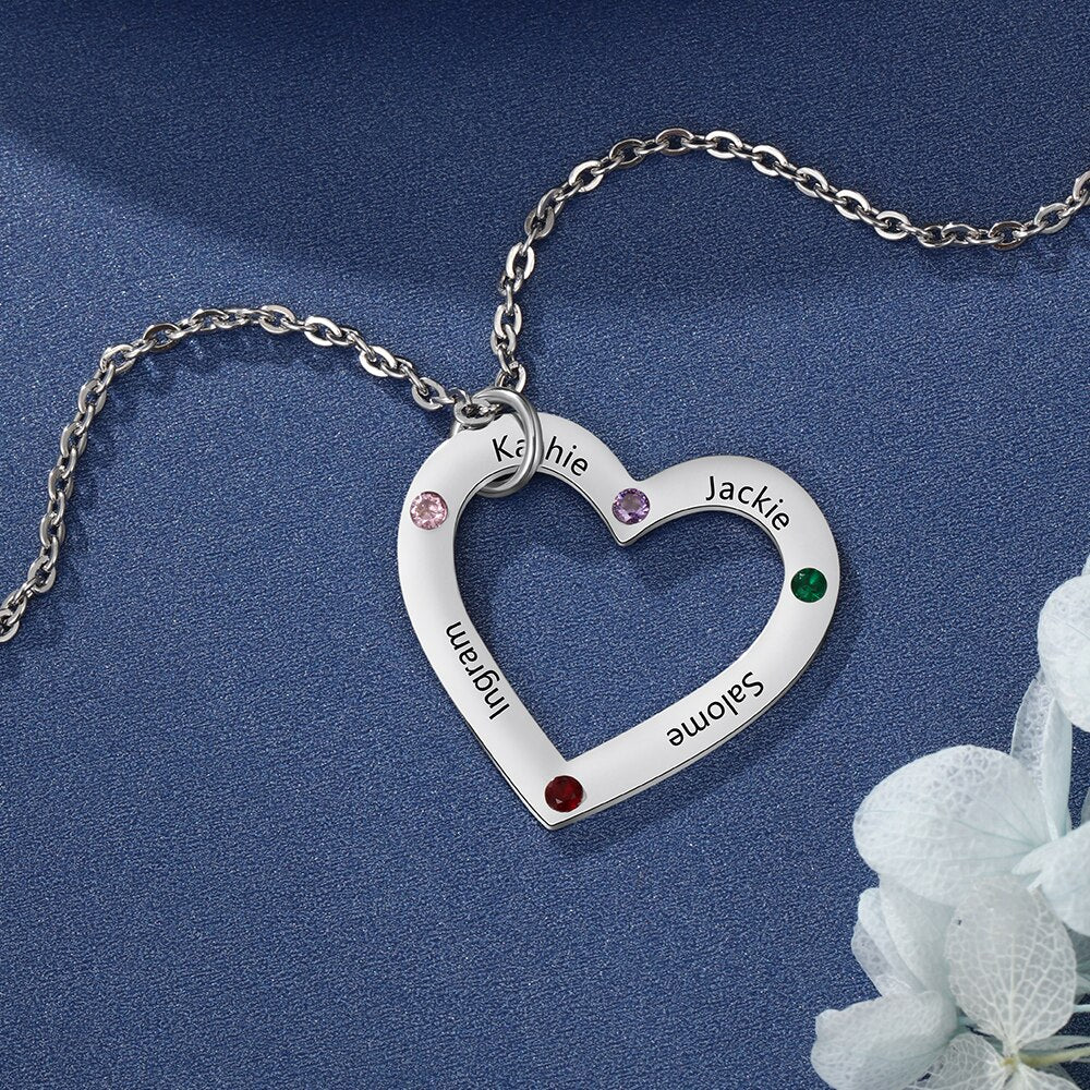 Personalized 4 Heart Name Necklaces with Birthstones