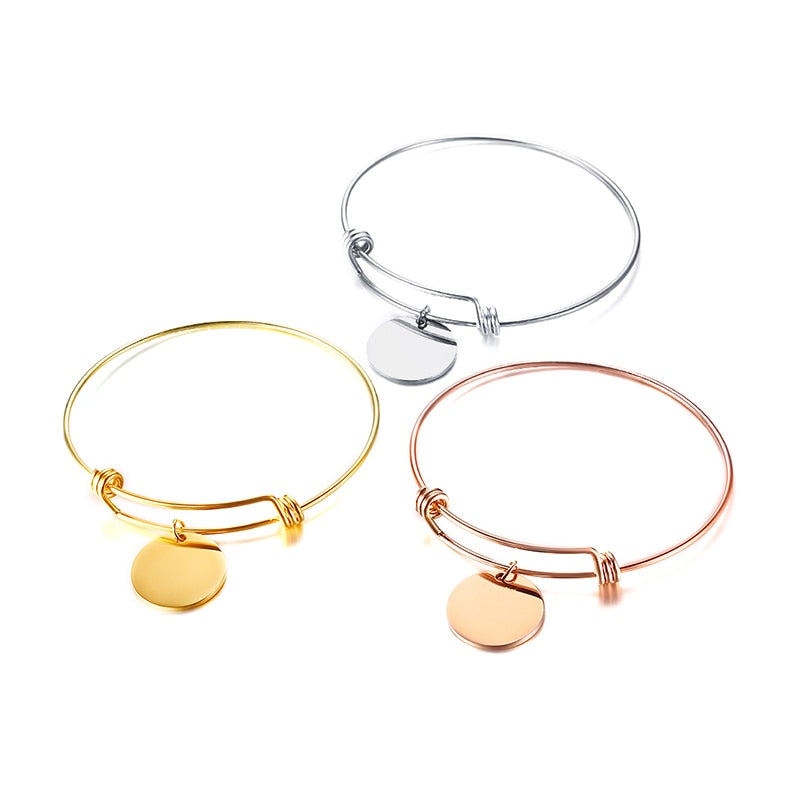 Personalized Expandable Bangle Bracelet Engraved in Rose Gold, Silver and Gold