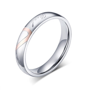 Personalized Classic Couples Ring with Black & Rose Gold Plating