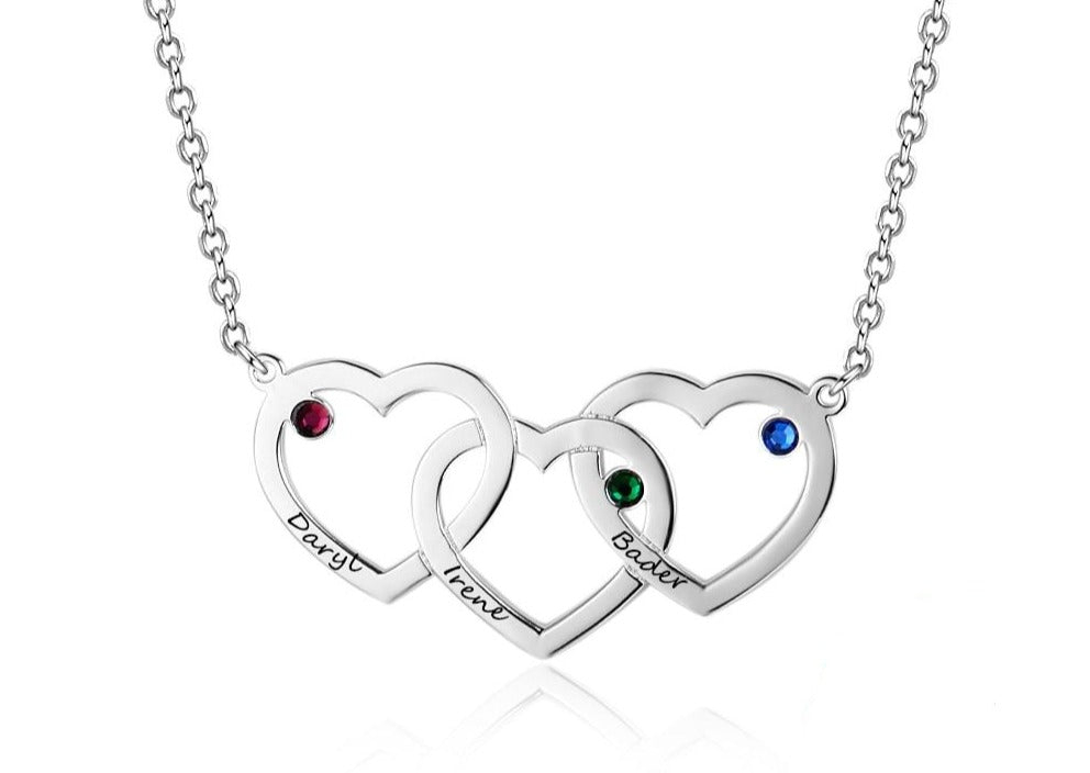 Personalized 3 Heart Pendant Necklace with Birthstones