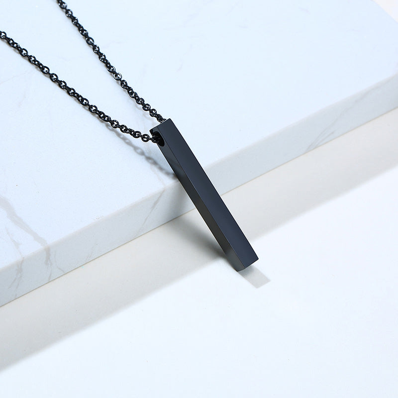 Engraved Minimalist Bar Pendant Necklace