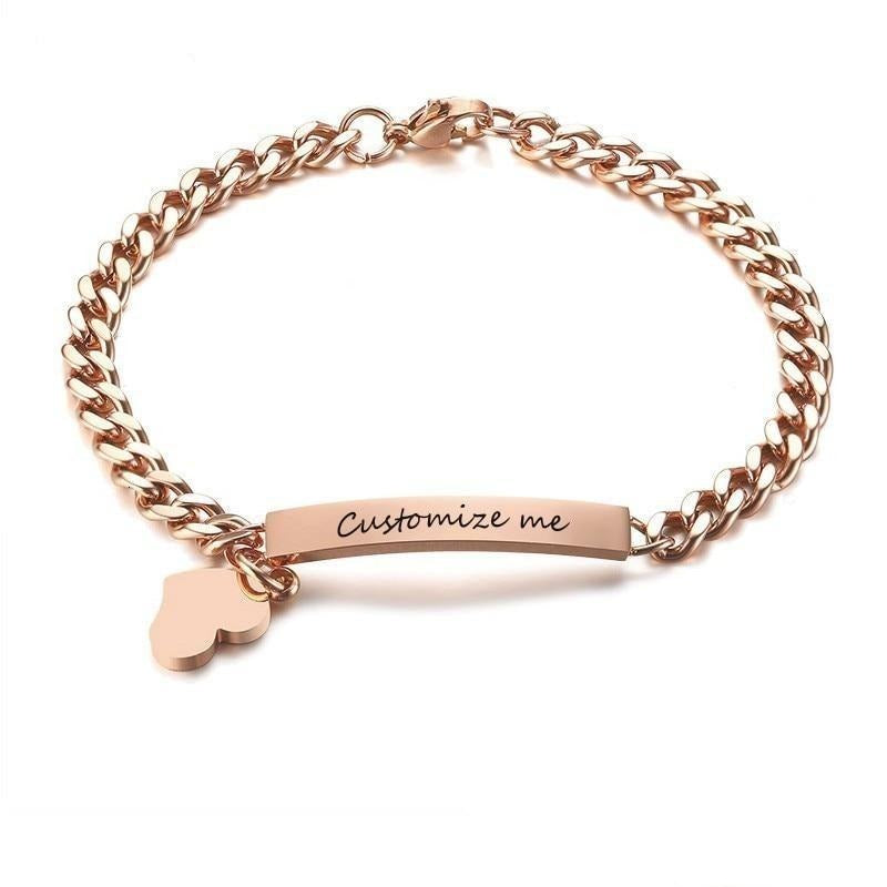 Personalized Chain & Link Bracelet with Heart in Rose Gold, Silver, Black and Gold