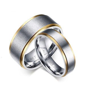 Personalized Couple Rings in Silver with Gold Beveled Edge