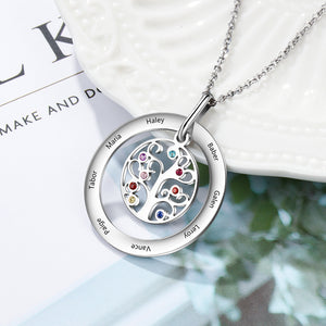 Personalized Tree of Life Necklace with 8 Names & Birthstones