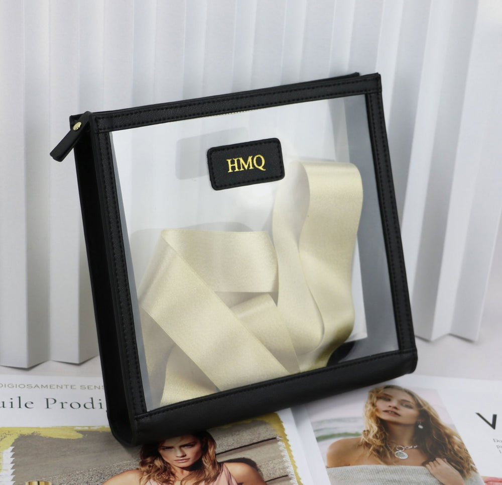 Load image into Gallery viewer, Personalized Leather Trimmed Transparent Toiletry Bag in Lemon