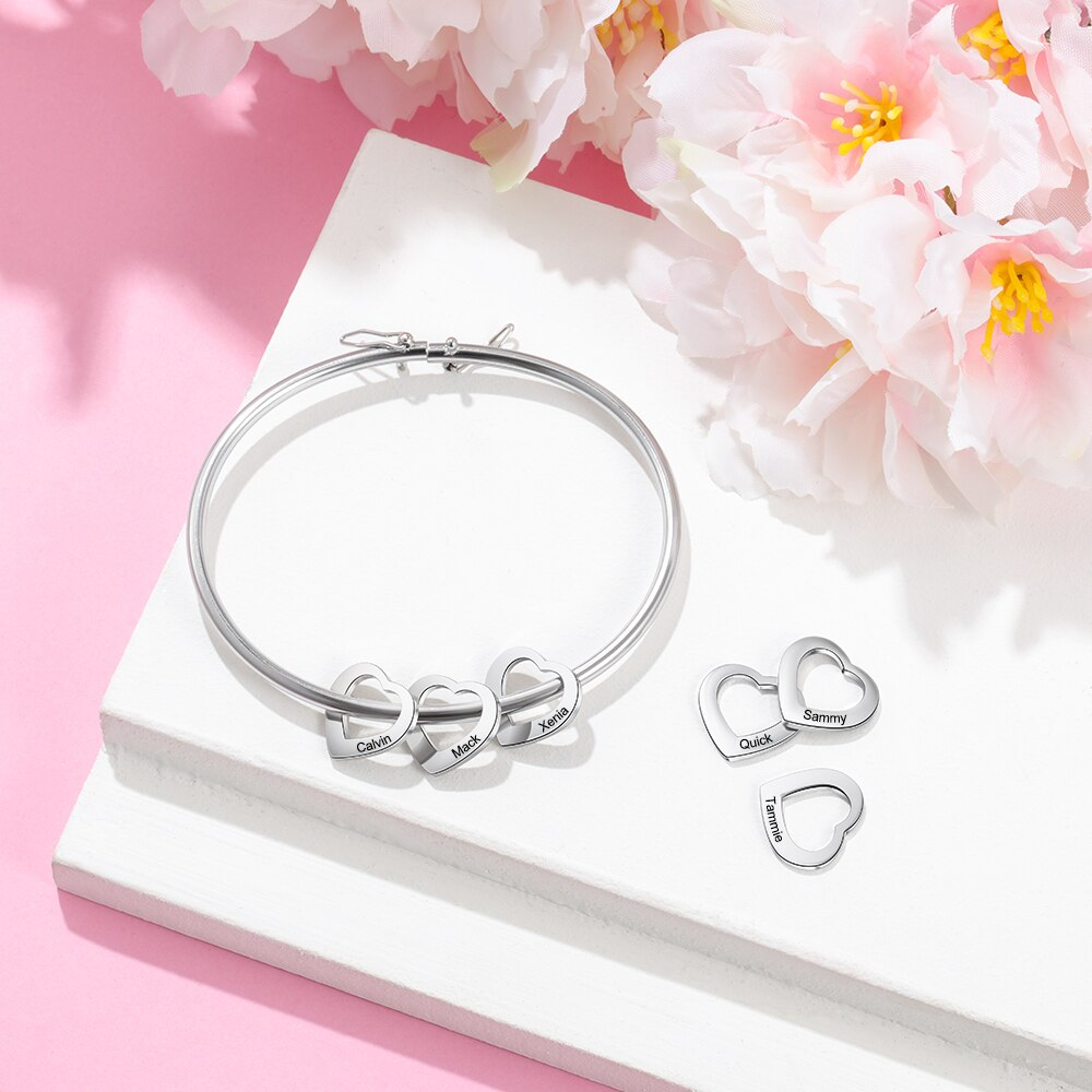 Personalized Bracelet Bangle with 2-6 Heart Charms