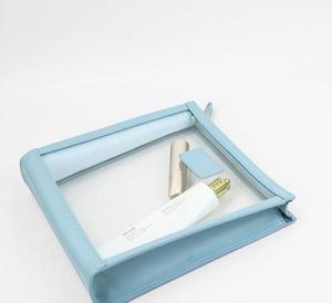 Personalized Leather Trimmed Transparent Toiletry Bag in Sky Blue