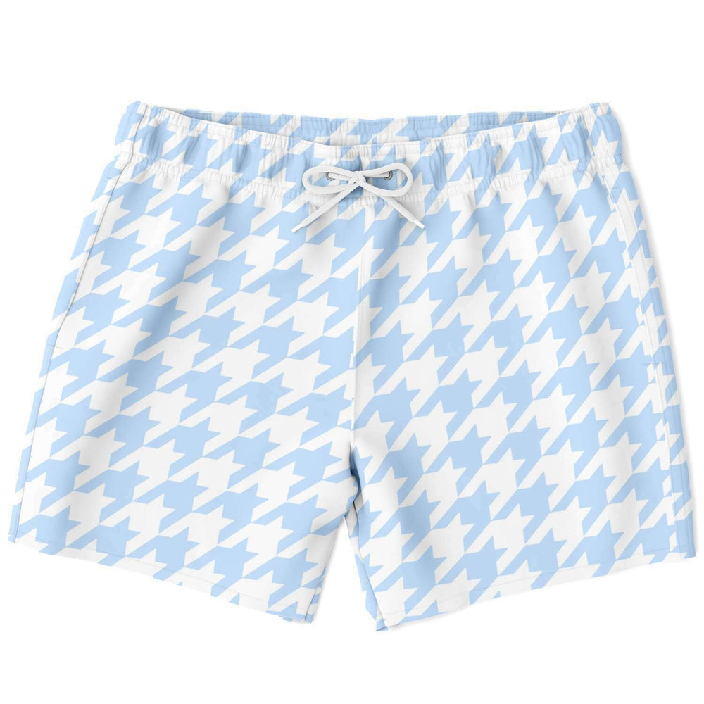 Pale Blue Houndstooth Swim Shorts