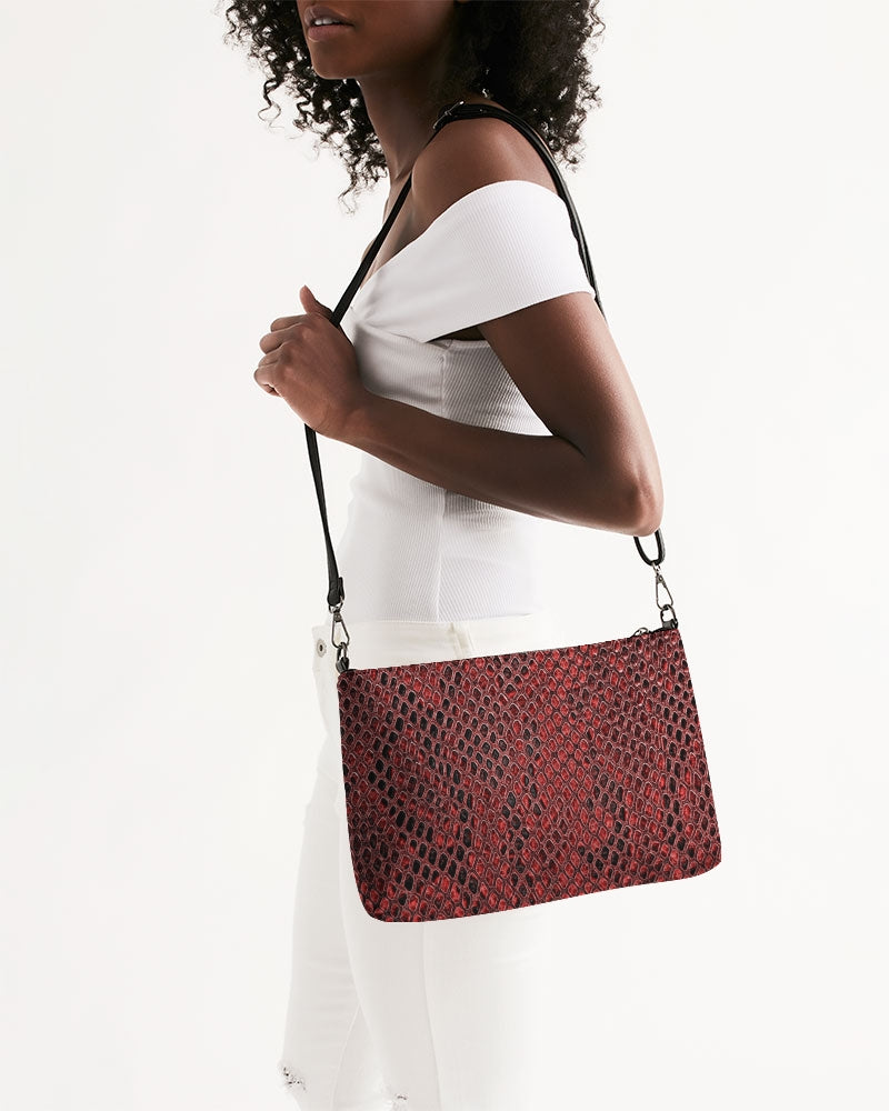 Red Snake Skin Daily Zip Pouch