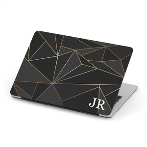 Personalized Macbook Hard Shell Case - Black & Gold Geometric