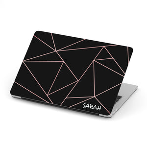 Personalized Macbook Hard Shell Case - Black & Pink Simple Geometric