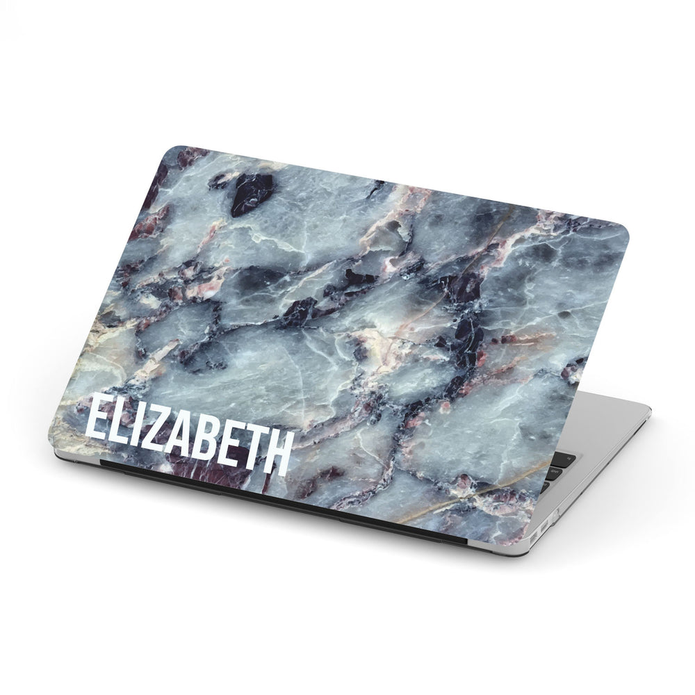 Personalized Macbook Hard Shell Case - Blue Grey Marble