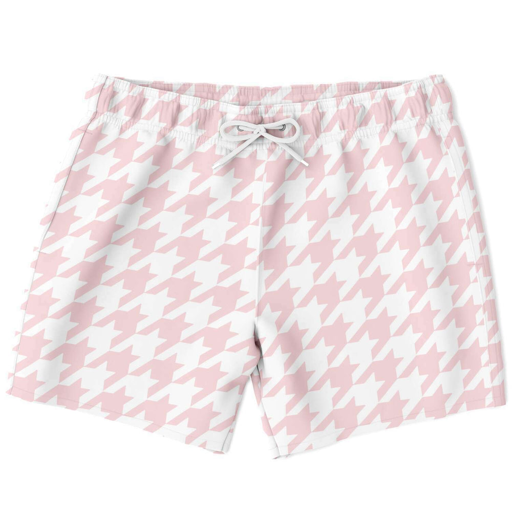 Pale Pink Houndstooth Swim Shorts