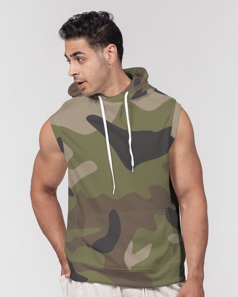 Woodland Camo Men's Premium Heavyweight Sleeveless Hoodie