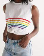Rainbow Striped Twist-Front Tank