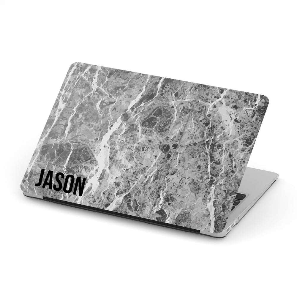 Personalized Macbook Hard Shell Case - Dark Grey Marble