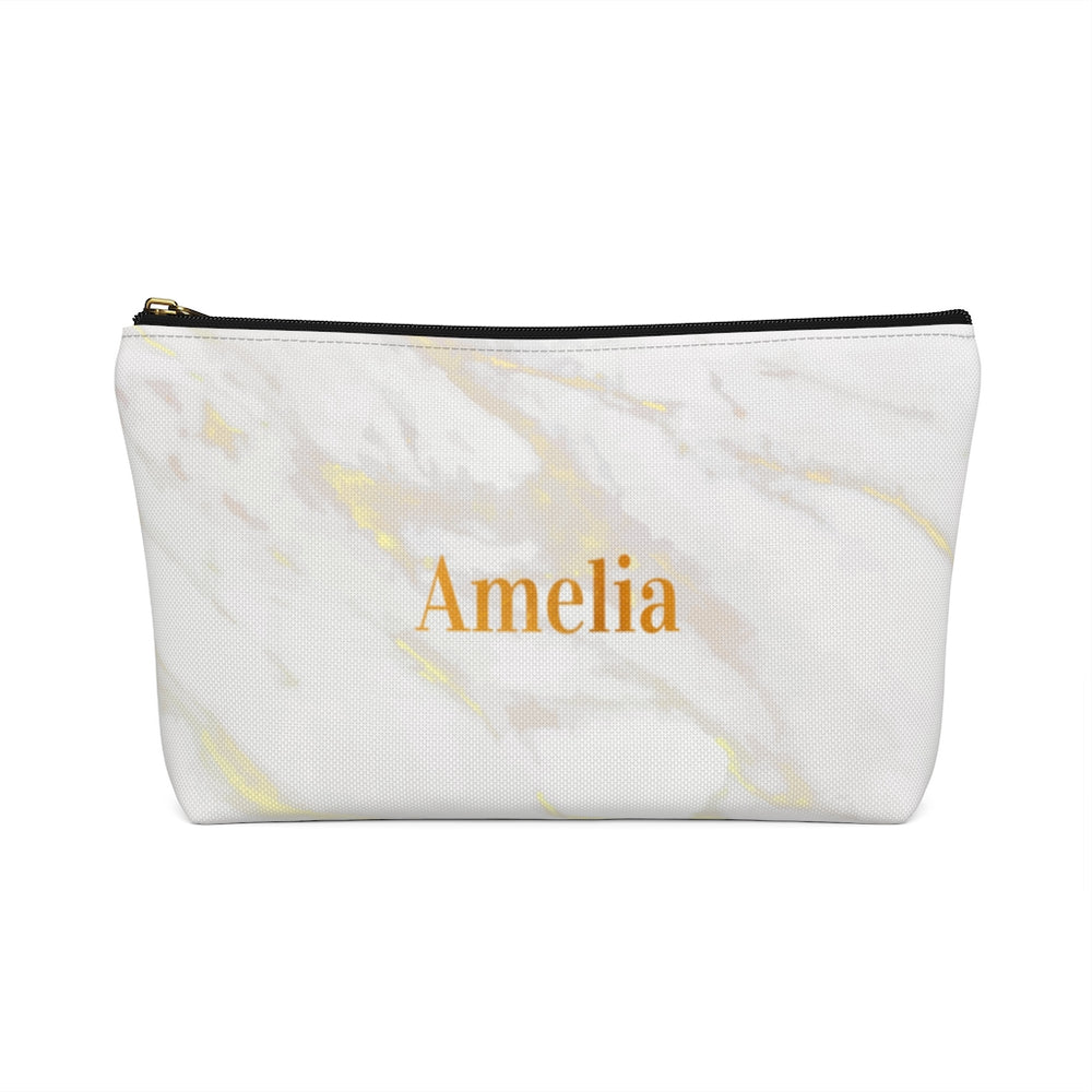 Personalized Cosmetic Bag / Accessory Pouch in White Marble & Gold