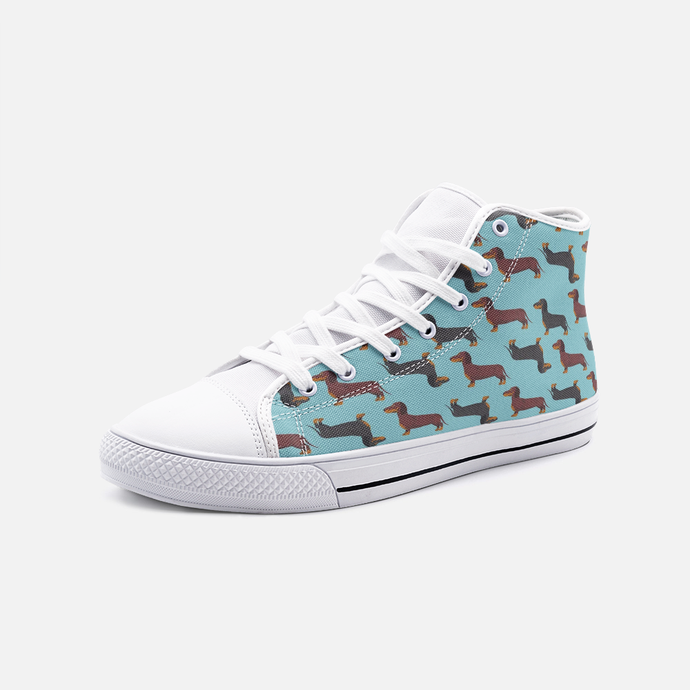 Load image into Gallery viewer, Dachshund Green High Top Unisex Canvas Shoes