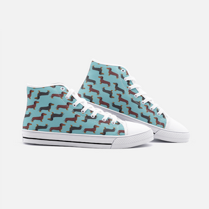 Dachshund Green High Top Unisex Canvas Shoes