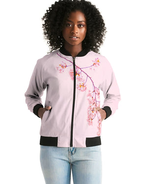 Load image into Gallery viewer, Pink Cherry Blossom Women's Bomber Jacket