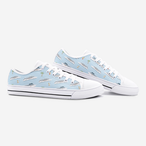 Cruise Lovers Blue Low Top Unisex Canvas Sneakers