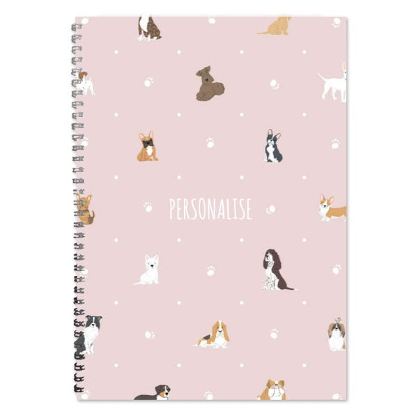Personalised Dog Pattern A4 Lined Notepad